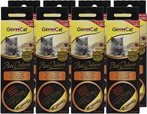 8 confezioni (24 porzioni) GimCat Pâté Deluxe Pollame