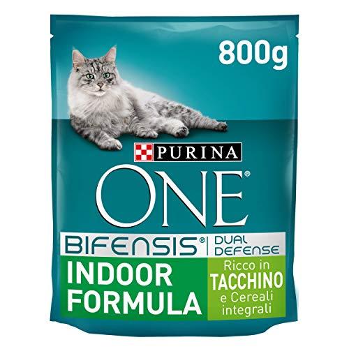 Purina One Bifensis Crocchette Gatto Indoor Formula Ricco in Tacchino e Cereali integrali - 8 Sacchi da 800 g Ciascuno