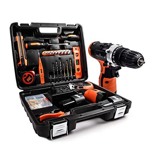 Kit di attrezzi con trapano avvitatore a batteria 16.8V, 48 accessori Set di Attrezzi con custodia Portaoggetti