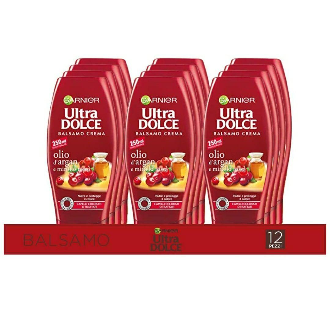 Garnier Multi Pack Balsamo Ultra Dolce Olio di Argan e Mirtillo Rosso, Balsamo per Capelli Colorati, 250 ml, Confezione da 12