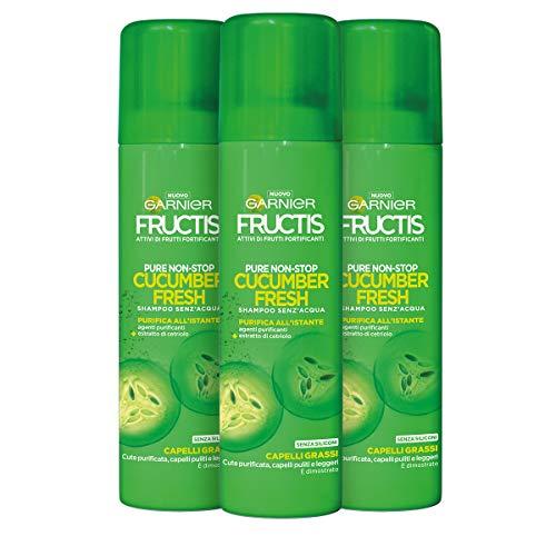 Garnier Shampoo Secco Fructis, Shampoo Secco Pure Non Stop Cucumber Fresh, 150 ml, Confezione da 3