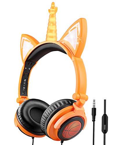 iFecco Cuffie per Bambini Unicorno con microfono e limitatore di volume