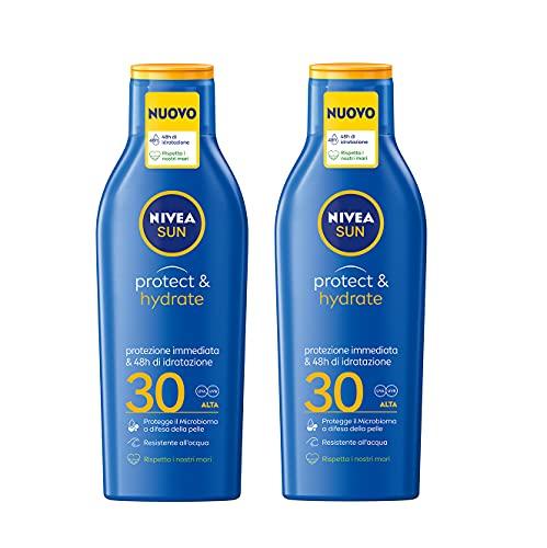 2 Pezzi da 200ml Nivea Sun Bipacco Latte Solare Protect & Hydrate FP30, Protezione Immediata e 48h di Idratazione
