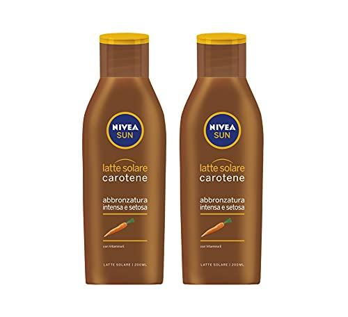 Nivea Sun Bipacco Latte Solare Carotene, Abbronzatura Intensa e Setosa con Vitamina E, 2 Pezzi da 200 ml