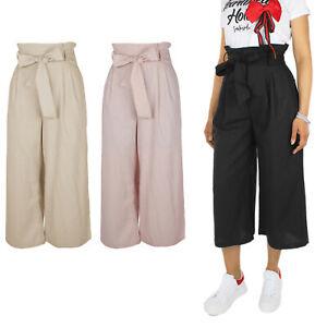 Pantalone Donna Casual 100% Cotone Cropped Vita Alta Cintura VEQUE