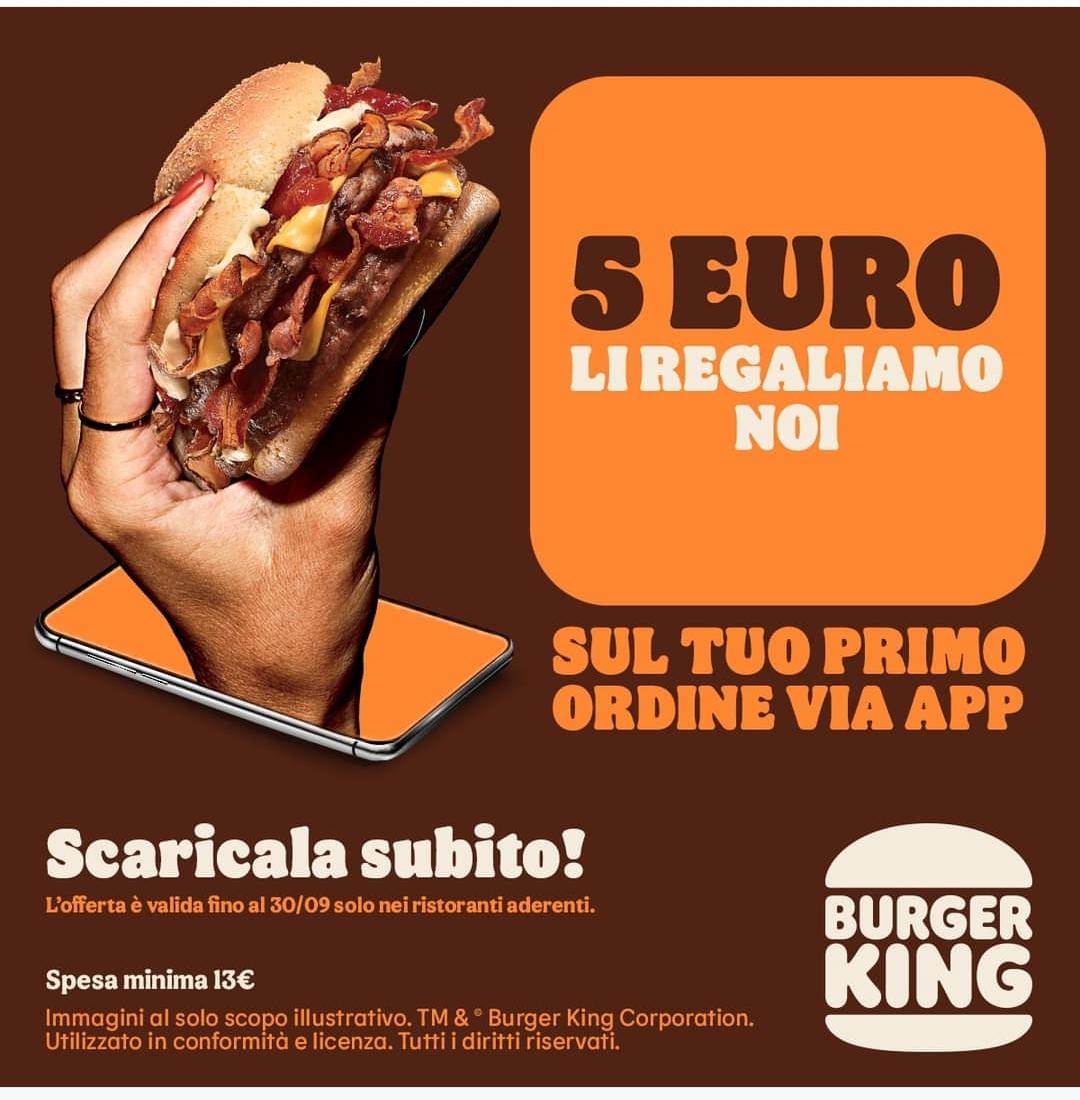 Coupon 5€ Burger King Primo Ordine con App