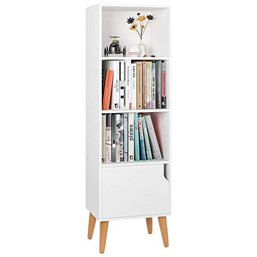 Scaffale Libreria Multifunzionale Salvaspazio con 1 Porte da Soggiorno Mobile Soggiorno in Legno 4 Ripiani