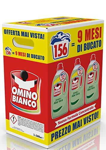 156 lavaggi Omino Bianco Detersivo Lavatrice Liquido, Fresco Profumo con Essenza di Aloe Vera