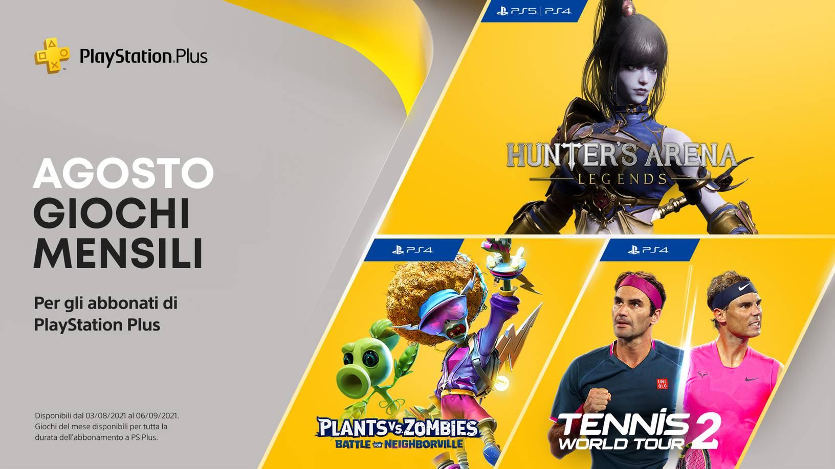 Giochi PlayStation Plus Agosto 2021 : Hunter's Arena: Legends, Plants vs. Zombies: La Battaglia di Neighborville, Tennis World Tour 2