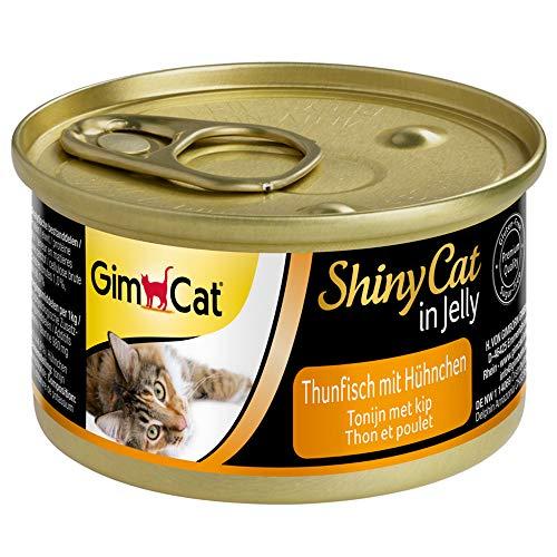 GimCat ShinyCat in gelatina tonno e pollo - Cibo umido in gelatina con pesce e carne per gatti - Ricco di proteine - 24 Lattine (24 x 70 g)