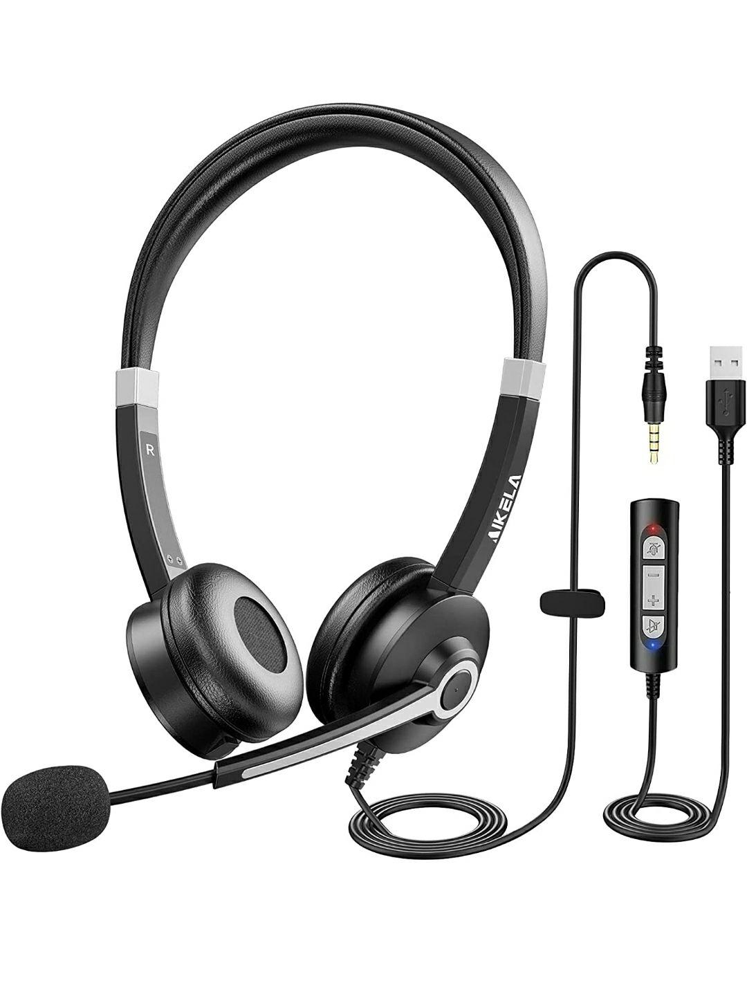 Cuffie con Microfono per PC con Cancellazione di Rumore e Controllo del Volume