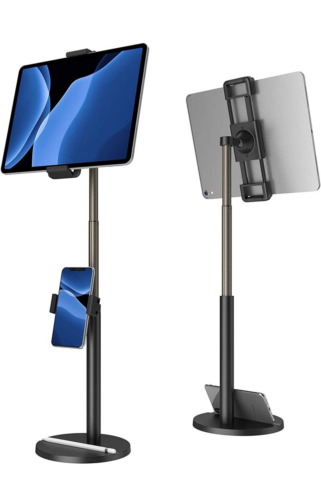 Supporto Tablet con Supporto Cellulare Regolabile in Altezza