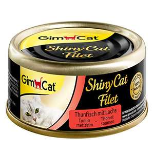 24 x 70 g gimcat Shiny cat Filet, Tonno e salmone