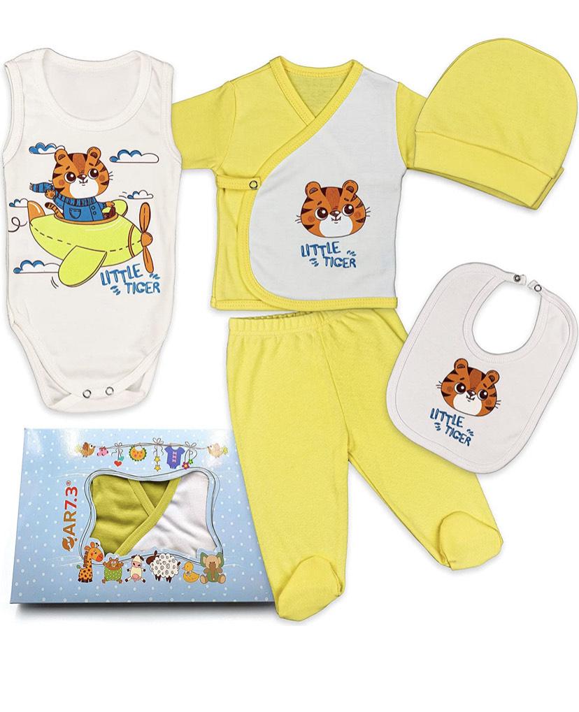 Completo Vestiti Neonato 0-3 mesi , Corredino da 5 pezzi