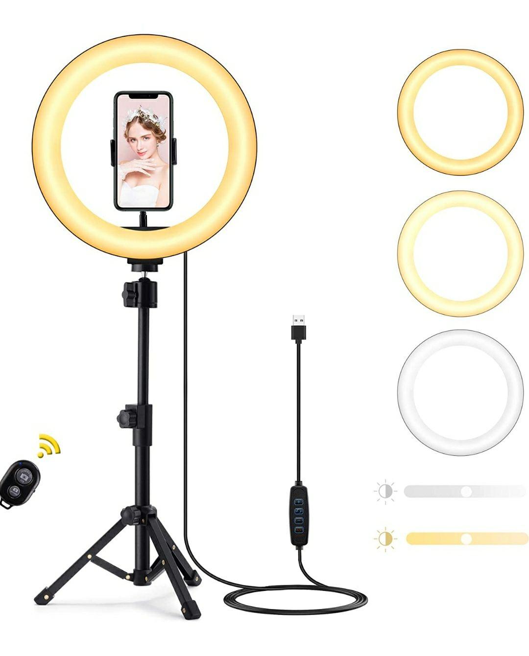 """10"""" Ring Light, Techvilla Luce ad Anello LED con Treppiede e Telecomando Bluetooth"""