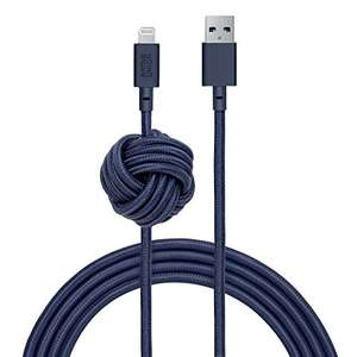 Native Union Night Cavo - Cavo di Caricamento Ultra-Resistente Rinforzato da 3 Metres (Certificato Apple MFi) Lightning a USB con Nodo
