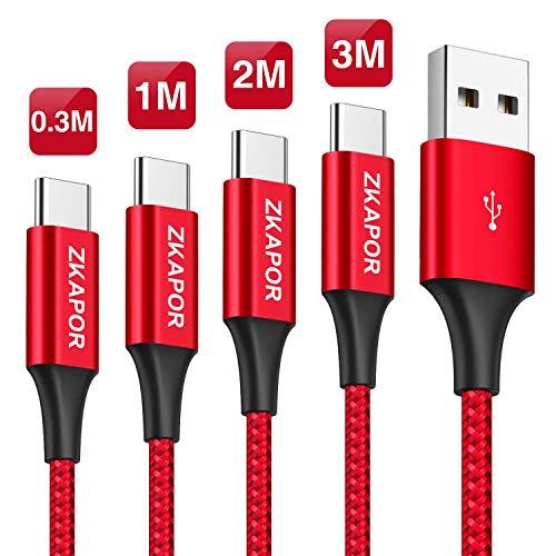 ZKAPOR Cavo USB C [4Pezzi, 0.3m 1m 2m 3m] Cavo USB Tipo C Ricarica Rapida e Trasmissione Cavo USB Type-C