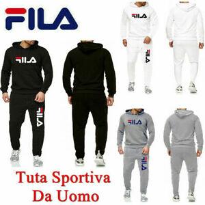 FILA Uomo Sportiva Fitness Cappuccio Sweatshirt Pantaloni Da Jogging Giacca Tuta
