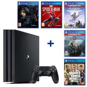 PS4 Pro 1 Tb + Marvel's Spider-Man + Death Stranding + God of War + GTA V Edition Premium + Horizon Zero Dawn Complete Edition