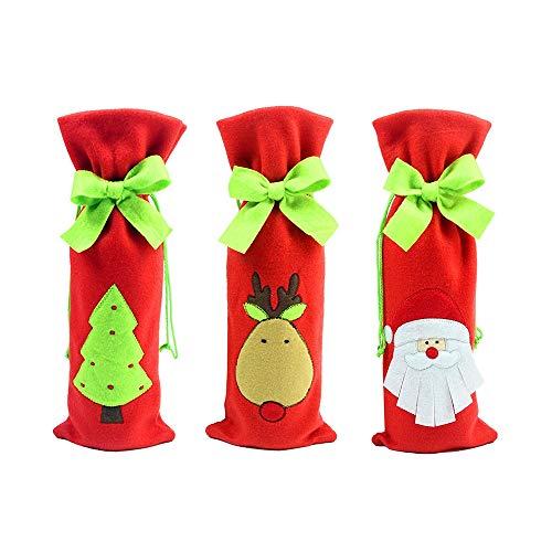 Portabottiglie di Natale per Vino o Acqua Set da 3 Pezzi in Tre Fantasie Diverse 1 Babbo Natale 1 Albero 1 Renna in Tessuto Morbido