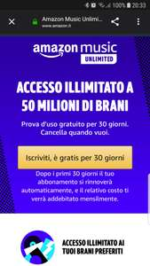 Un mese di amazon Unlimited music Gratis