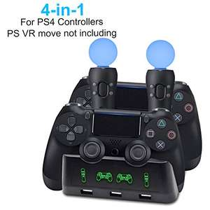 AMANKA PS4 VR di Ricarica Controller,4 in 1 PS Caricabatteria Docking Station per PS4/PS Slim/Pro PS4 MOVE/PS VR Controller