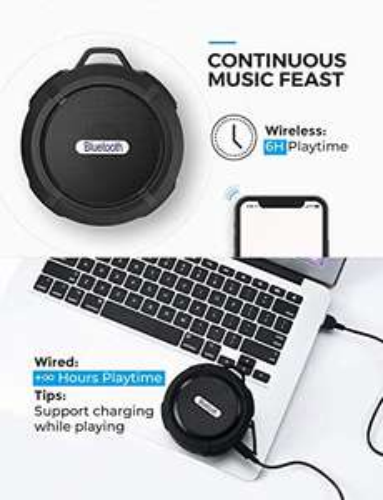Speaker Bluetooth 4.2 portatile, resistente a schizzi di acqua