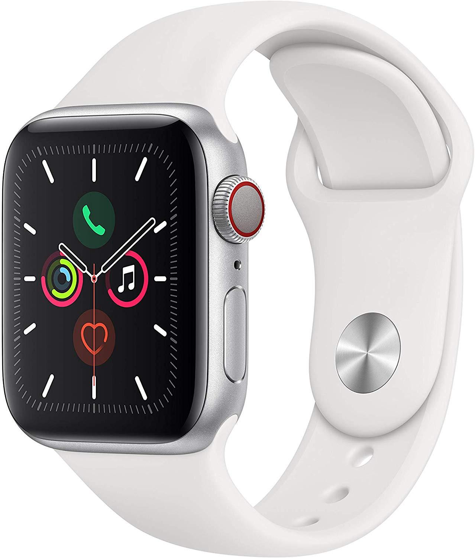 Apple Watch Series 5 (GPS + Cellular, 40 mm) Cassa in Alluminio, Argento e Cinturino Sport - Bianco