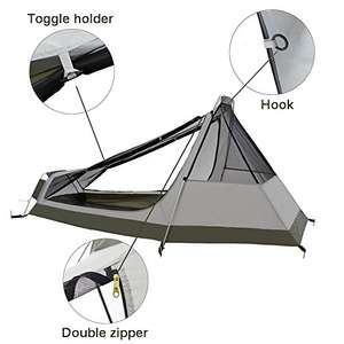 Tenda igloo Bivy Impermeabile Ultraleggera 3 a 4 Stagioni 1 Persona - 213x101x91cm H (1,5kg) - con Struttura in Alluminio per Campeggio